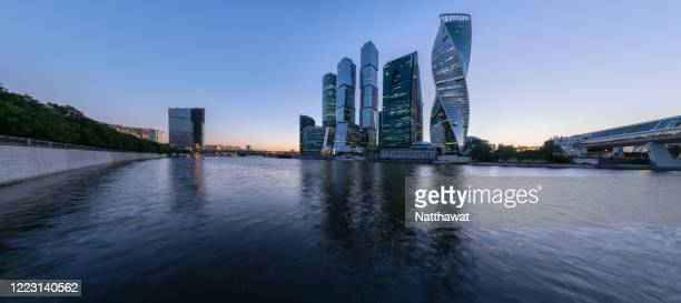 panoramic view of moscow international business centre (mibc) at sunset, moscow, russia - moscow skyline stock pictures, royalty-free photos & images