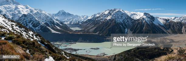 Panoramic view of Mount Cook and Mueller lake, New Zealand