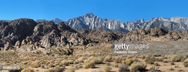 panoramic view of mount whitney and the sierra nevada seen from the alabama hills, lone pine, california - alabama hills stock photos and pictures