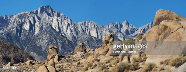 Panoramic View of Mount Whitney And The Sierra Nevada Seen From The Alabama Hills, Lone Pine, California