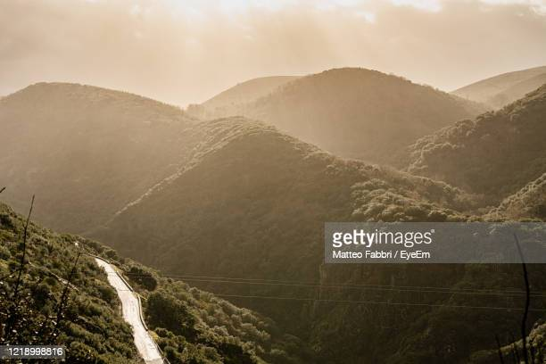panoramic view of mountain range against sky - camino de santiago stock pictures, royalty-free photos & images