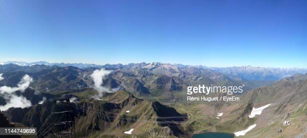 panoramic view of mountains against clear blue sky - bagneres de bigorre stock pictures, royalty-free photos & images