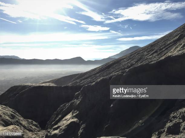 panoramic view of mountains against sky - tengger stock pictures, royalty-free photos & images