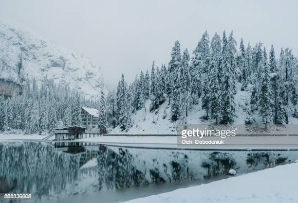panoramic view of mountains  in winter - mere noel stock pictures, royalty-free photos & images