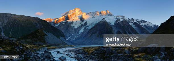 Panoramic view of Mt Cook and Mueller lake in morning light