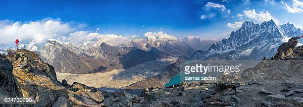 Panoramic view of Mt. Everest and Himalayan mountains as seen from Gokyo Ri, Everest region, Nepal