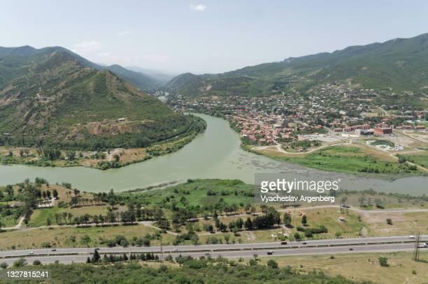 panoramic view of mtskheta, mtkvari and aragvi, georgia - argenberg stock pictures, royalty-free photos & images