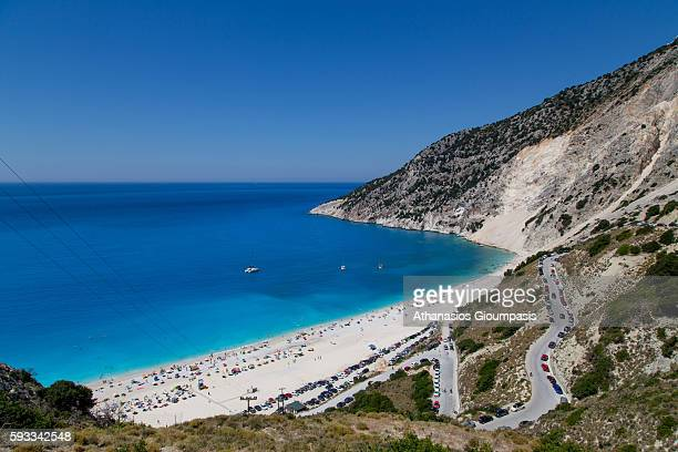 Panoramic view of Myrtos Beach on August 15 2016 in Kefallonia Greece It was used as the location for the mine explosion episode in the film Captain...