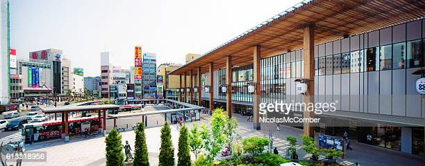 Panoramic view of Nagano Japan train and bus station