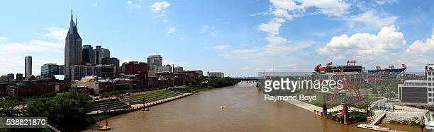 Panoramic view of Nashville skyline and Nissan Stadium home of the Tennessee Titans football team as photographed from the Shelby Street Bridge in...