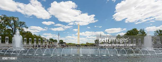 panoramic view of national world war ii memorial against sky - national world war ii memorial stock pictures, royalty-free photos & images