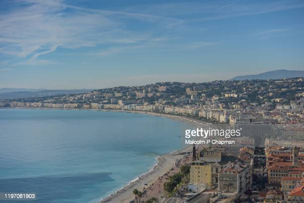 panoramic view of nice, france from colline du château - nice france stock pictures, royalty-free photos & images