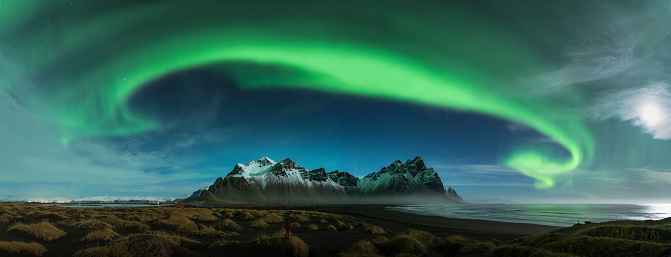Panoramic view of Northern lights in Iceland - gettyimageskorea