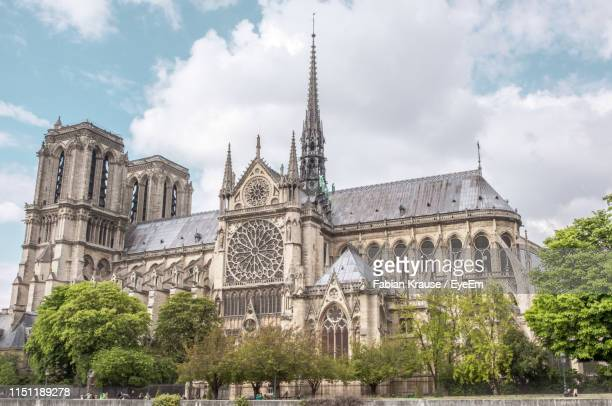 panoramic view of notre dame and trees against sky - notre dame de paris photos et images de collection
