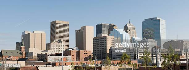 panoramic view of oklahoma city skyline on a cloudless day - oklahoma city stock pictures, royalty-free photos & images
