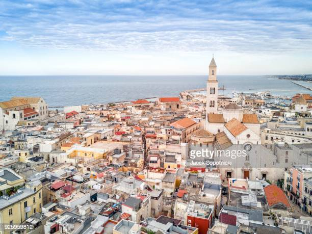 panoramic view of old town, bari, puglia, italy - bari stock photos and pictures