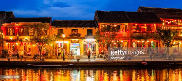 panoramic view of old town in hoi an city, vietnam - vietnam stock pictures, royalty-free photos & images