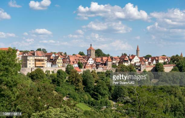 Panoramic View of Old Town of Rothenburg ob der Tauber seen from Burggarten, Germany