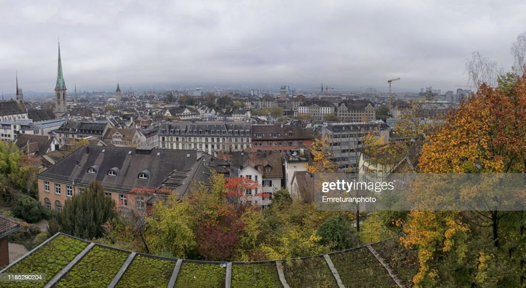 Panoramic view of oldtown Zurich on an overcast day. : Stock Photo