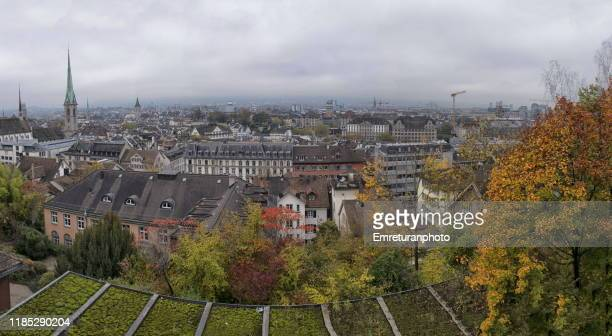 panoramic view of oldtown zurich on an overcast day. - emreturanphoto stock pictures, royalty-free photos & images