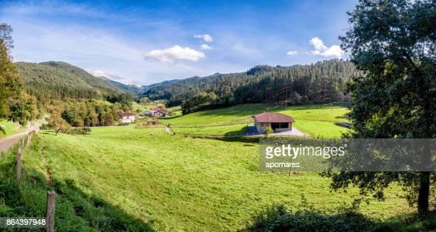 panoramic view of oma village near kortezubi town. natural reserve of urdaibai, basque country, vizcaya province, spain - paisagem cena não urbana imagens e fotografias de stock