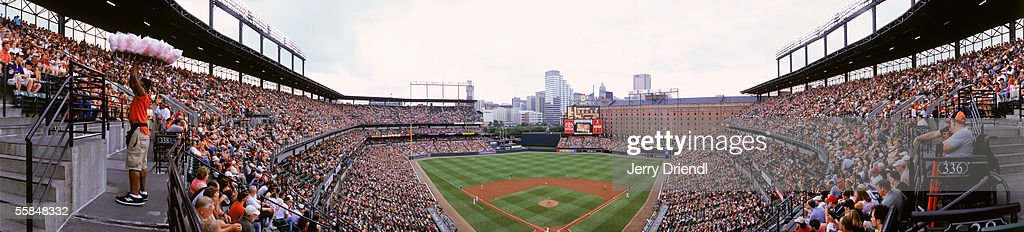 Panoramic view of Oriole Park at Camden Yards from behind home plate upper level as the Baltimore Orioles host the Colorado Rockies in a inter-league game on June 19, 2005 in Baltimore, Maryland. The Orioles won 4-2.