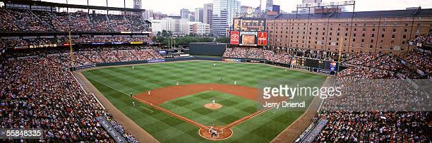 Panoramic view of Oriole Park at Camden Yards from behind home plate upper level as the Baltimore Orioles host the Colorado Rockies in a inter-league...