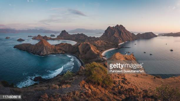 panoramic view of padar isalnd in komodo national park, flores island in indonesia - east nusa tenggara stock pictures, royalty-free photos & images