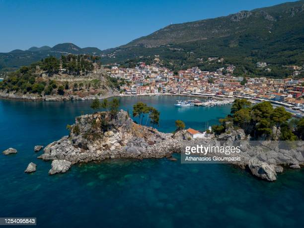 Panoramic view of Parga seafront with the traditional the houses on July 01, 2020 in Parga, Greece, Greece.
