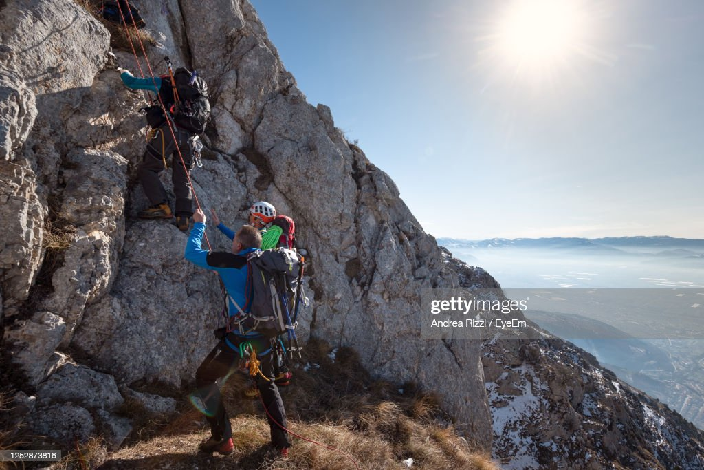 Panoramic View Of People On Rock : Foto stock