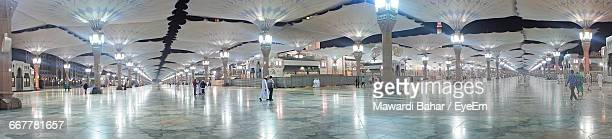 Panoramic View Of People Walking On Floor At Al-Masjid An-Nabawi