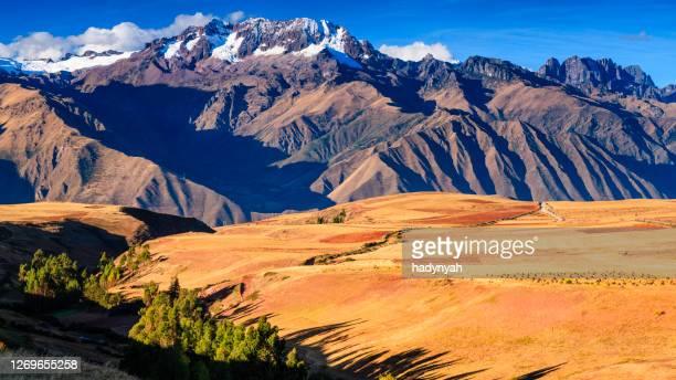 vista panorámica del altiplano peruano. andes en el fondo - paisajes de peru fotografías e imágenes de stock