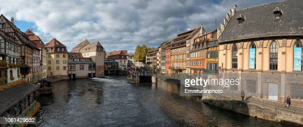 Panoramic view of Petite France quarter with historic buildings in Strasbourg,France.