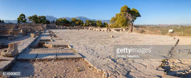 Panoramic view of Phaistos Palace Main Court, Bronze Age archeological site, Island of Crete, Greece, Mediterranean