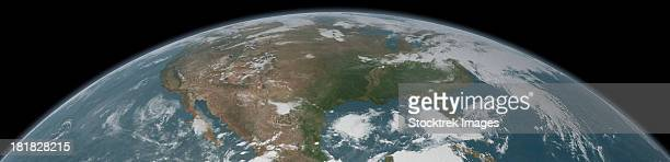Panoramic view of planet Earth and the United States as seen from space.