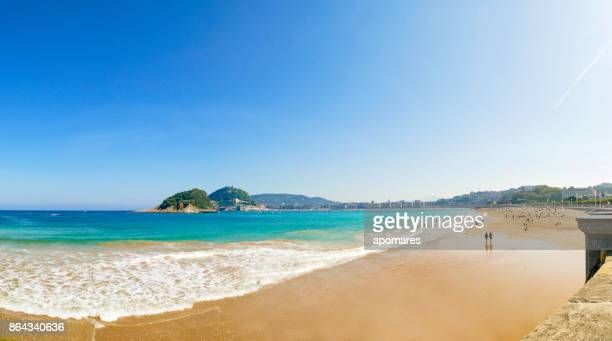 panoramic view of playa de la concha, san sebastian, donostia, basque country, spain - spain stock pictures, royalty-free photos & images