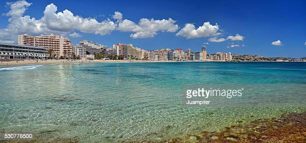 panoramic view of playa de la fossa, calpe, alicante - calpe stock pictures, royalty-free photos & images