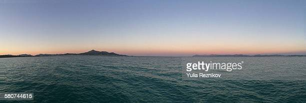 panoramic view of playa de muro beach in alcudia - muro stock photos and pictures