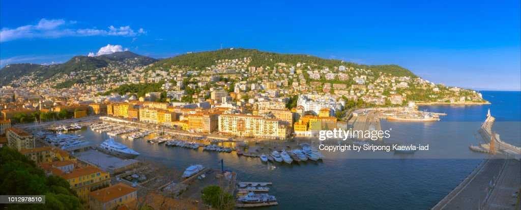 Panoramic view of Port de Nice-Ville, France. : Stock Photo