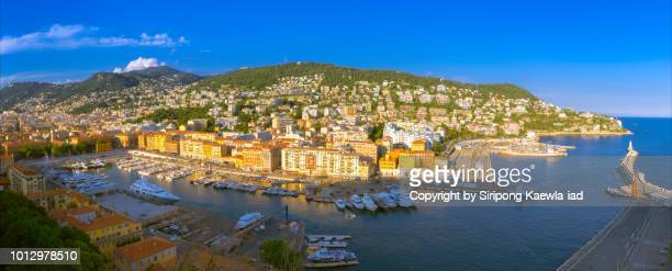 Panoramic view of Port de Nice-Ville, France.