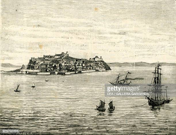 Panoramic view of Portoferraio Isola d'Elba Tuscany Italy woodcut by Barberis from Le cento citta d'Italia illustrated monthly supplement of Il...