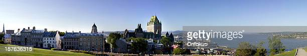 panoramic view of quebec city during summer - chateau frontenac hotel stock pictures, royalty-free photos & images
