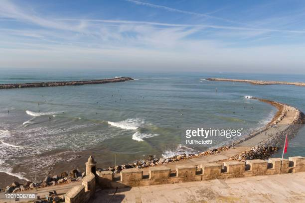 panoramic view of rabat beach from kasbah of the udayas - morocco - pjphoto69 foto e immagini stock