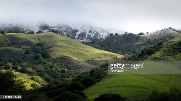 panoramic view of rare snow fall in the hills of the east bay - fremont california stock pictures, royalty-free photos & images