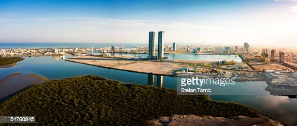 panoramic view of ras al khaimah over mangrove forest in the uae - united arab emirates stock pictures, royalty-free photos & images