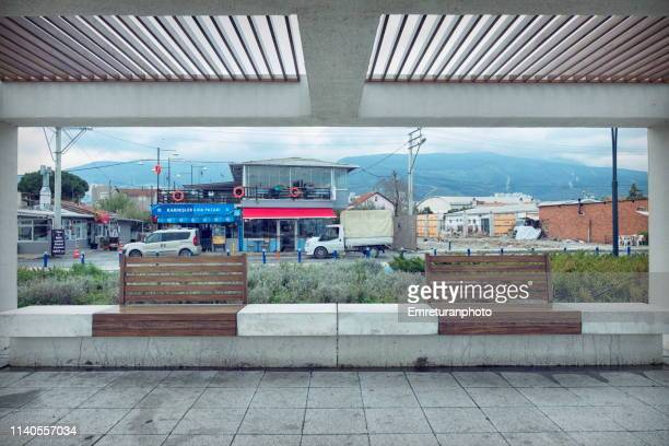 panoramic view of restaurants and mountain. - emreturanphoto stock pictures, royalty-free photos & images