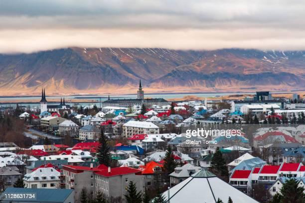 panoramic view of reykjavik - reykjavik stock pictures, royalty-free photos & images