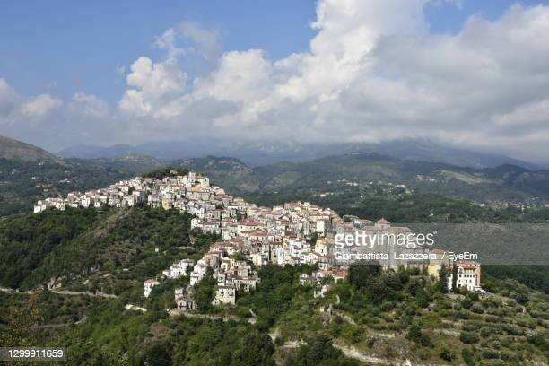 panoramic view of rivello, old town in basilicata region, italy. - バシリカータ ストックフォトと画像