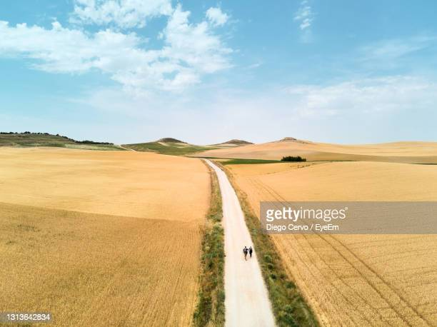 panoramic view of road amidst field against sky - camino de santiago stock pictures, royalty-free photos & images
