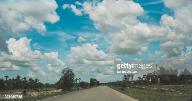 panoramic view of road amidst trees against sky - bortes foto e immagini stock